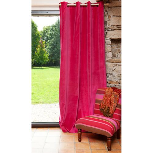 rideau illets double face en velours et lin fuchsia et. Black Bedroom Furniture Sets. Home Design Ideas