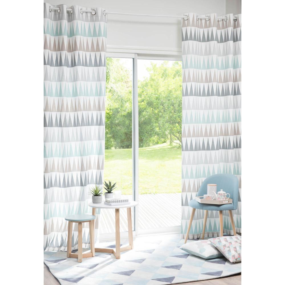 Rideau à œillets en coton bleu 110 x 250 cm TRENDY | Maisons du Monde