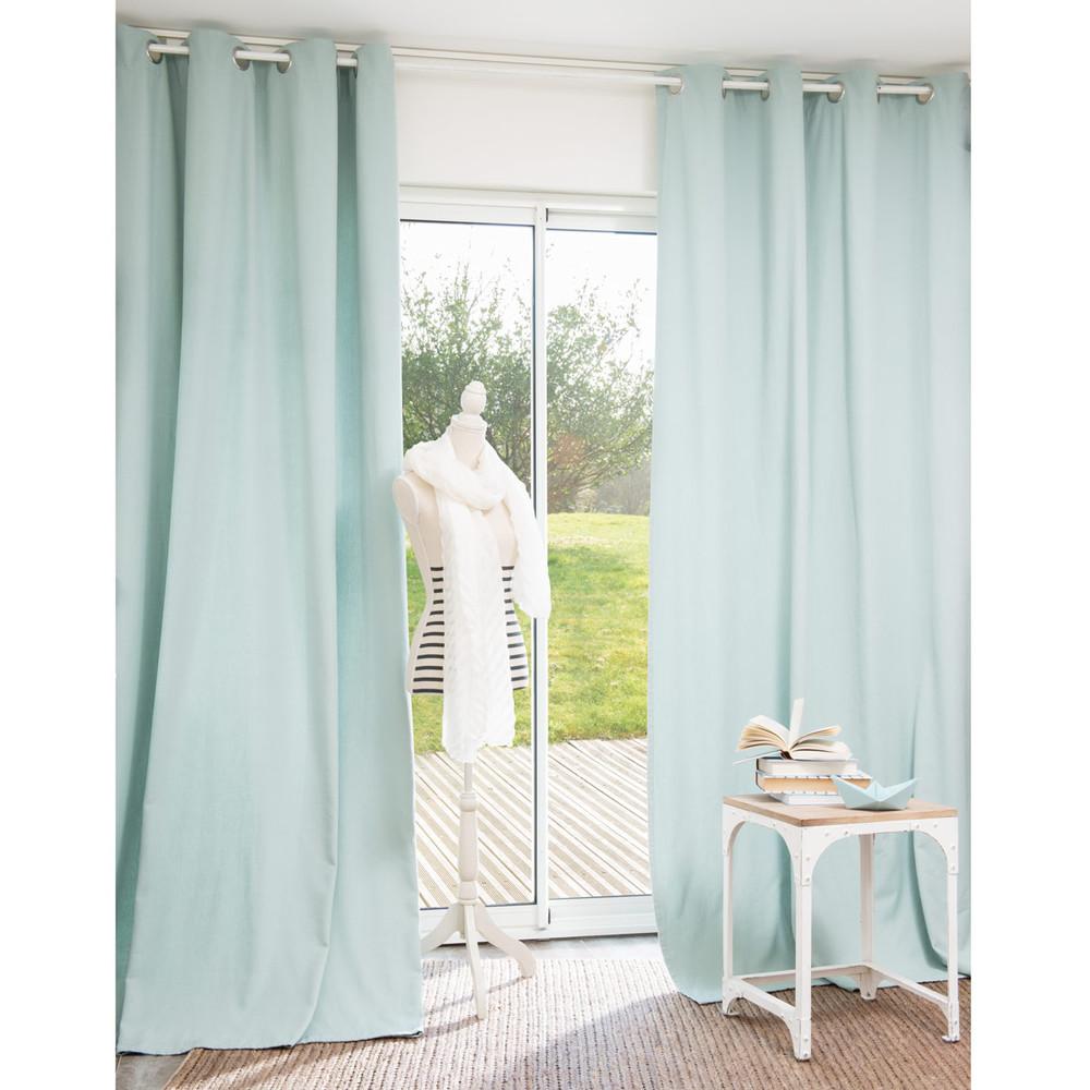Rideau oeillets en coton bleu de brume 140 x 250 cm - Maison coloree rideaux ...