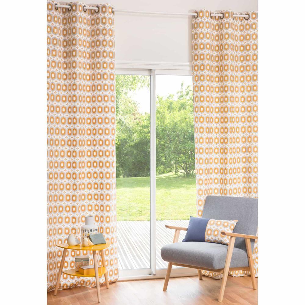 rideau 224 œillets en coton jaune 105 x 270 cm cavendish maisons du monde