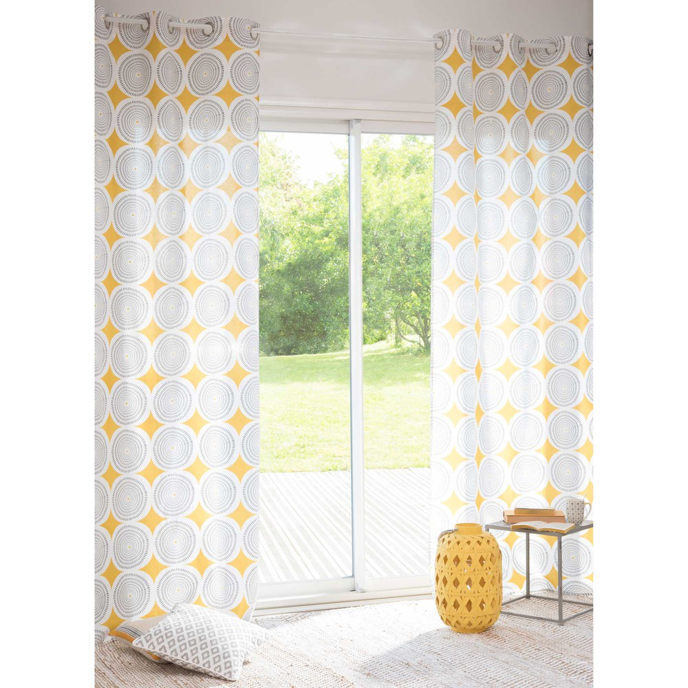 rideau illets en coton jaune noir 105 x 250 cm. Black Bedroom Furniture Sets. Home Design Ideas