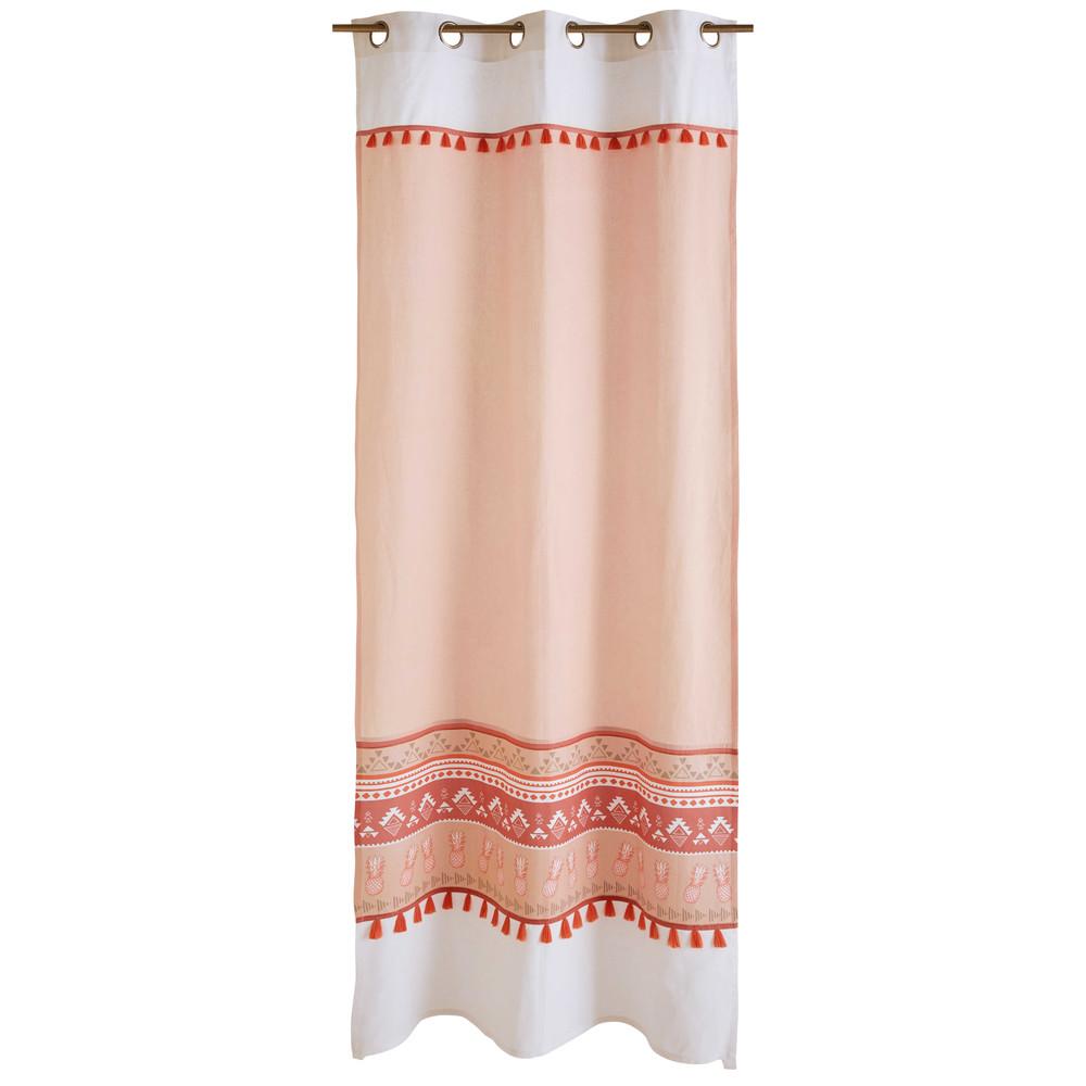 rideau illets en coton orange motifs ethniques 110x250cm maya maisons du monde. Black Bedroom Furniture Sets. Home Design Ideas