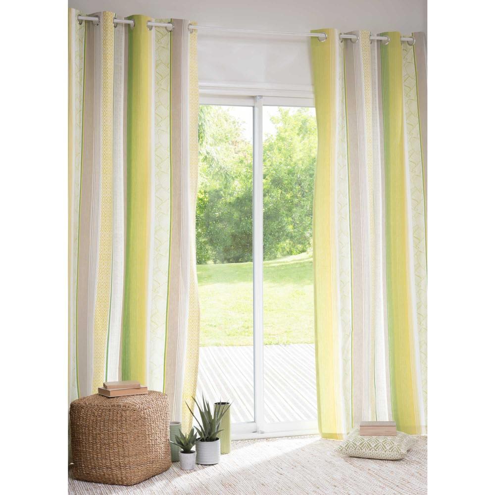 rideau illets en coton vert jaune 110 x 250 cm malajaya maisons du monde. Black Bedroom Furniture Sets. Home Design Ideas