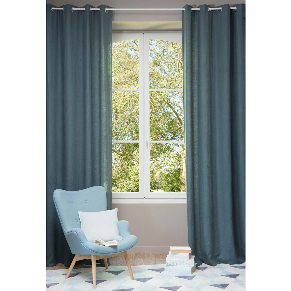 rideau illets en lin lav bleu p trole 130 x 300 cm. Black Bedroom Furniture Sets. Home Design Ideas