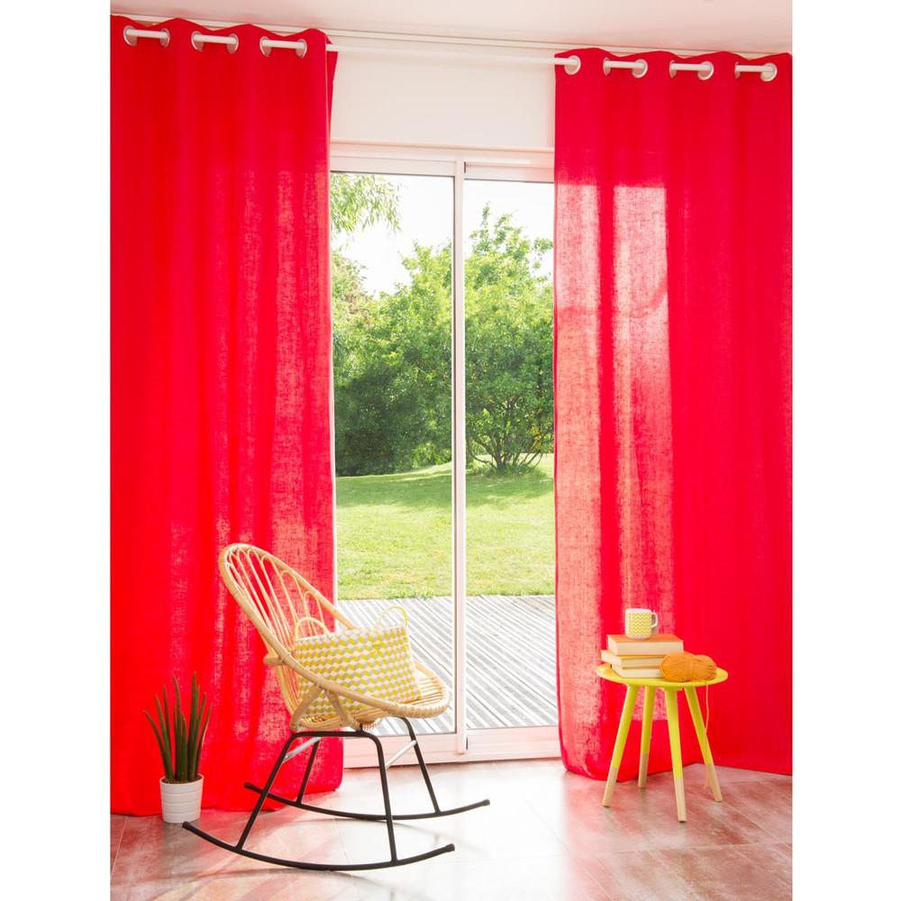 rideau illets en lin lav corail 110 x 250 cm maisons. Black Bedroom Furniture Sets. Home Design Ideas