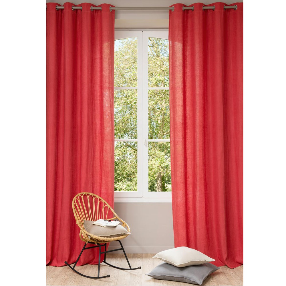 rideau illets en lin lav rouge 130 x 300 cm maisons. Black Bedroom Furniture Sets. Home Design Ideas