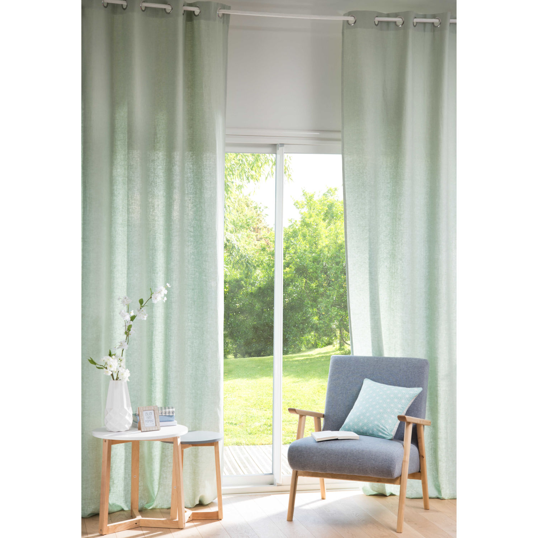 gallery of rideau a oeillets en lin lave vert clair x. Black Bedroom Furniture Sets. Home Design Ideas