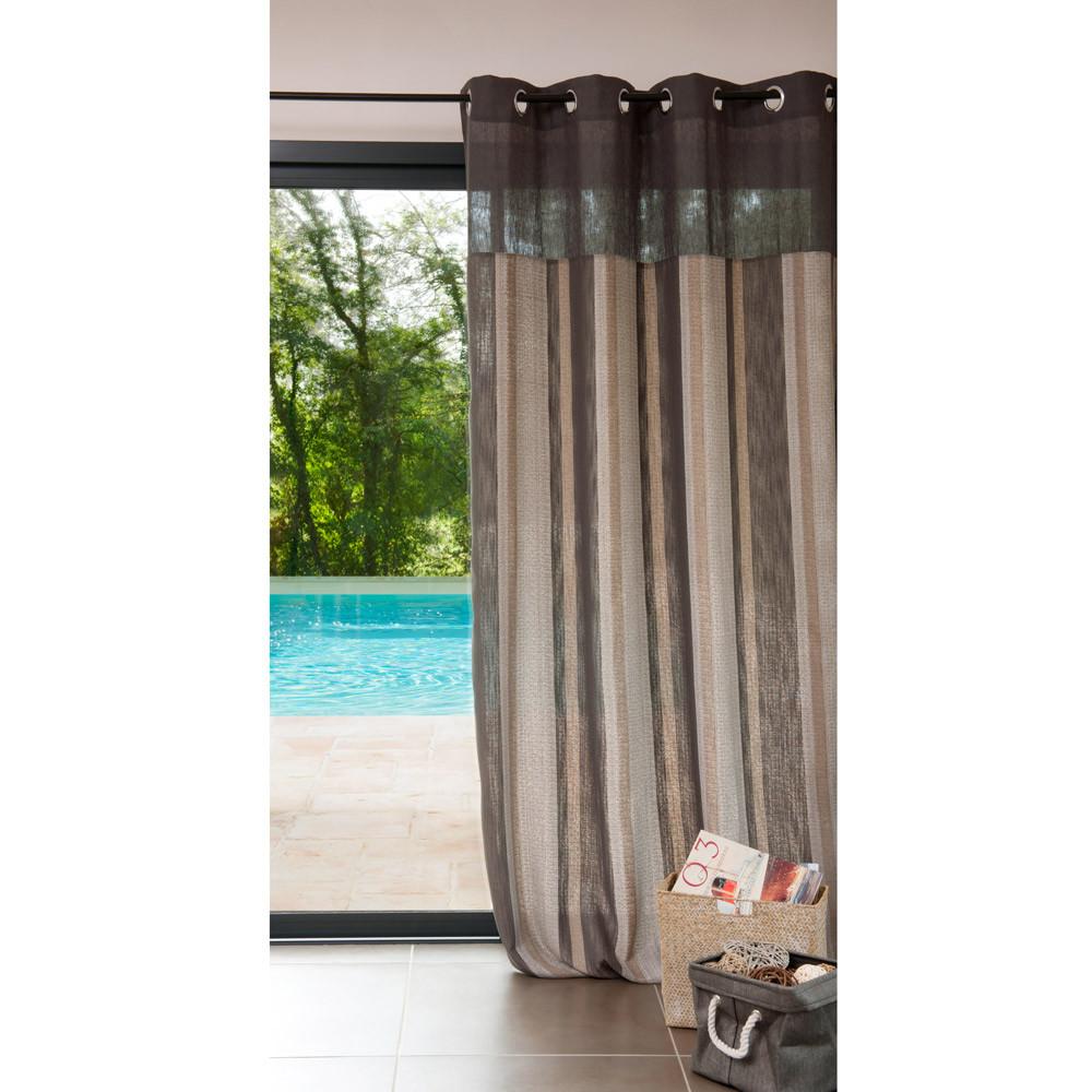 rideau illets en lin marron 140 x 300 cm ouessant maisons du monde. Black Bedroom Furniture Sets. Home Design Ideas