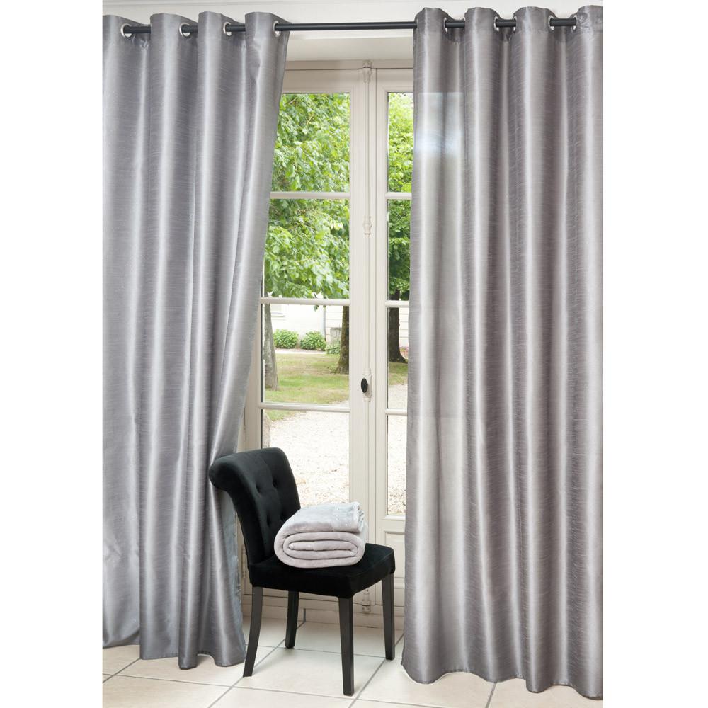 Rideau illets en tissu gris 140 x 250 cm vendu l - Embrasse rideau maison du monde ...