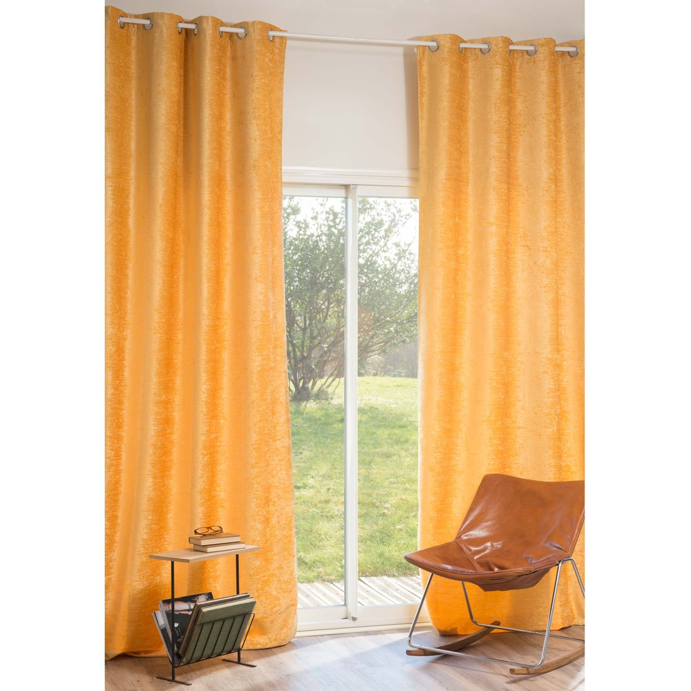 rideau illets en velours jaune 140 x 300 cm vintage. Black Bedroom Furniture Sets. Home Design Ideas