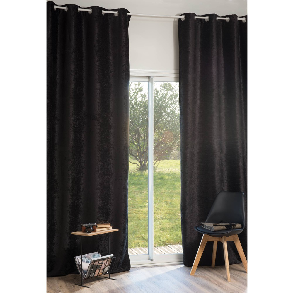 rideau illets en velours noir 140 x 300 cm vintage velvet belouga maisons du monde. Black Bedroom Furniture Sets. Home Design Ideas