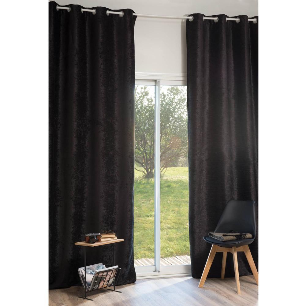 Rideau illets en velours noir 140 x 300 cm vintage velvet belouga maisons du monde - La maison du rideau maubeuge ...