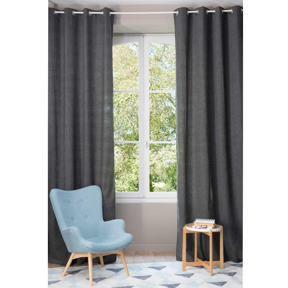rideau illets gris 140 x 300 cm chenille maisons du monde. Black Bedroom Furniture Sets. Home Design Ideas