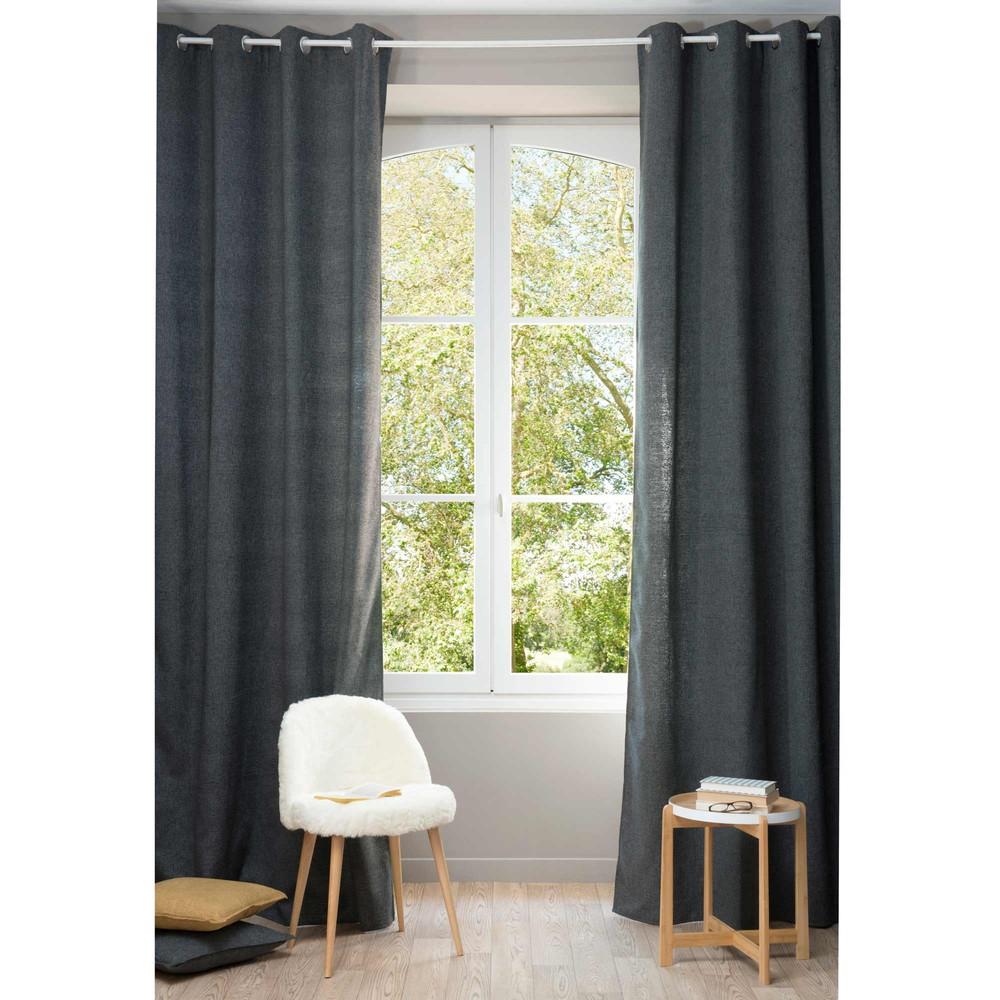 rideau illets gris carbone 140 x 300 cm chenille maisons du monde. Black Bedroom Furniture Sets. Home Design Ideas