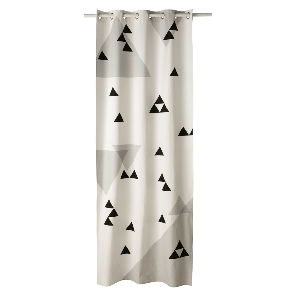Rideau illets motif triangles en coton 110 x 250 cm for Rideau fenetre triangle