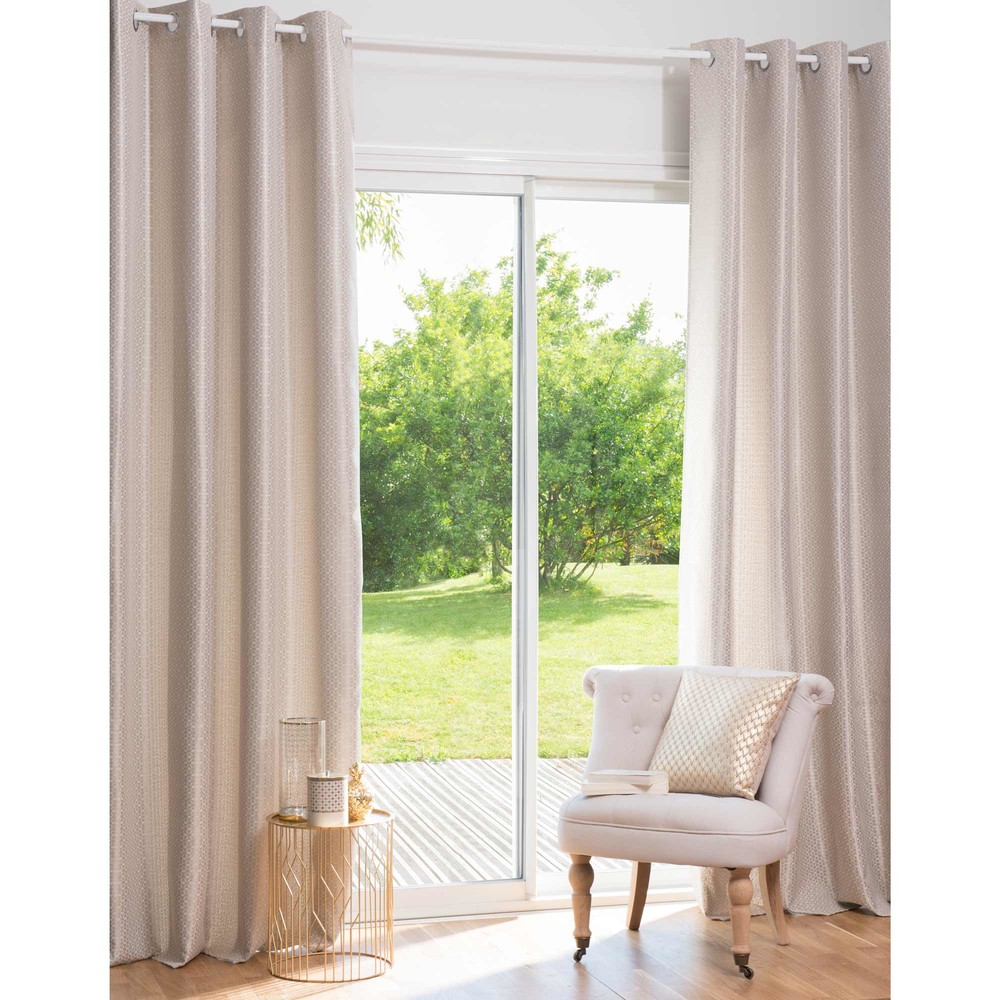 rideau illets motifs dor s 140x250 maisons du monde. Black Bedroom Furniture Sets. Home Design Ideas