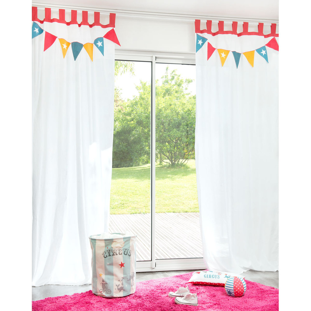 rideau passants en coton blanc 105 x 250 cm circus maisons du monde. Black Bedroom Furniture Sets. Home Design Ideas