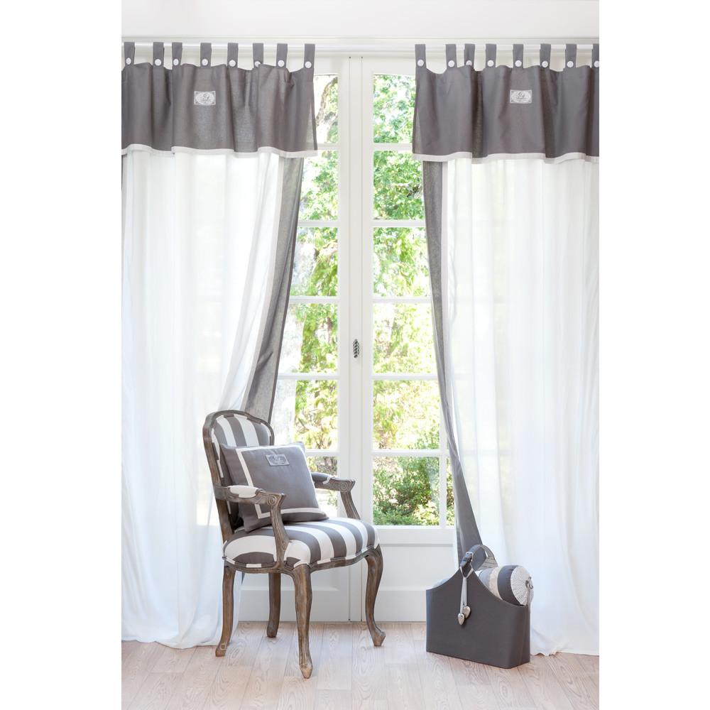 Rideau passants en coton blanc et gris 140 x 300 cm for Maison du monde rideaux