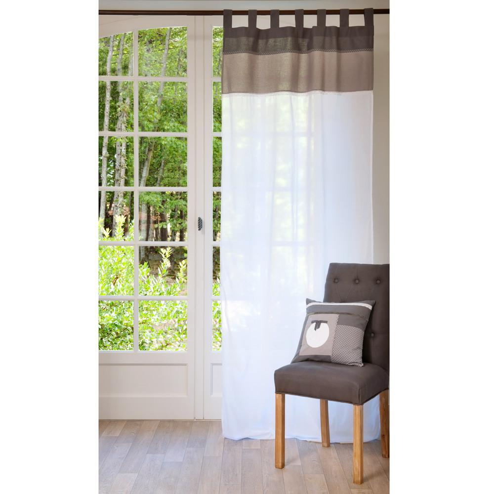 rideau passants en coton blanc et marron 105 x 250 cm chaumont maisons du monde. Black Bedroom Furniture Sets. Home Design Ideas
