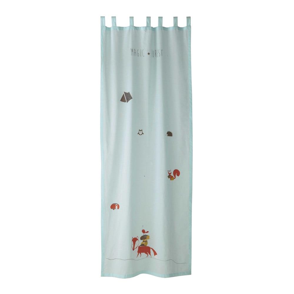 rideau passants en coton bleu 110 x 250 cm forest maisons du monde. Black Bedroom Furniture Sets. Home Design Ideas