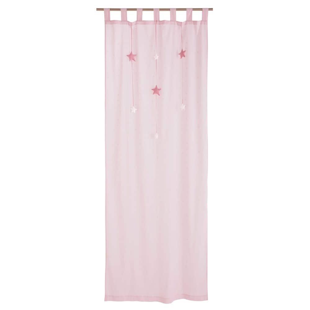 Rideau passants en coton rose 102x250cm lilly maisons for Rideau rose chambre fille