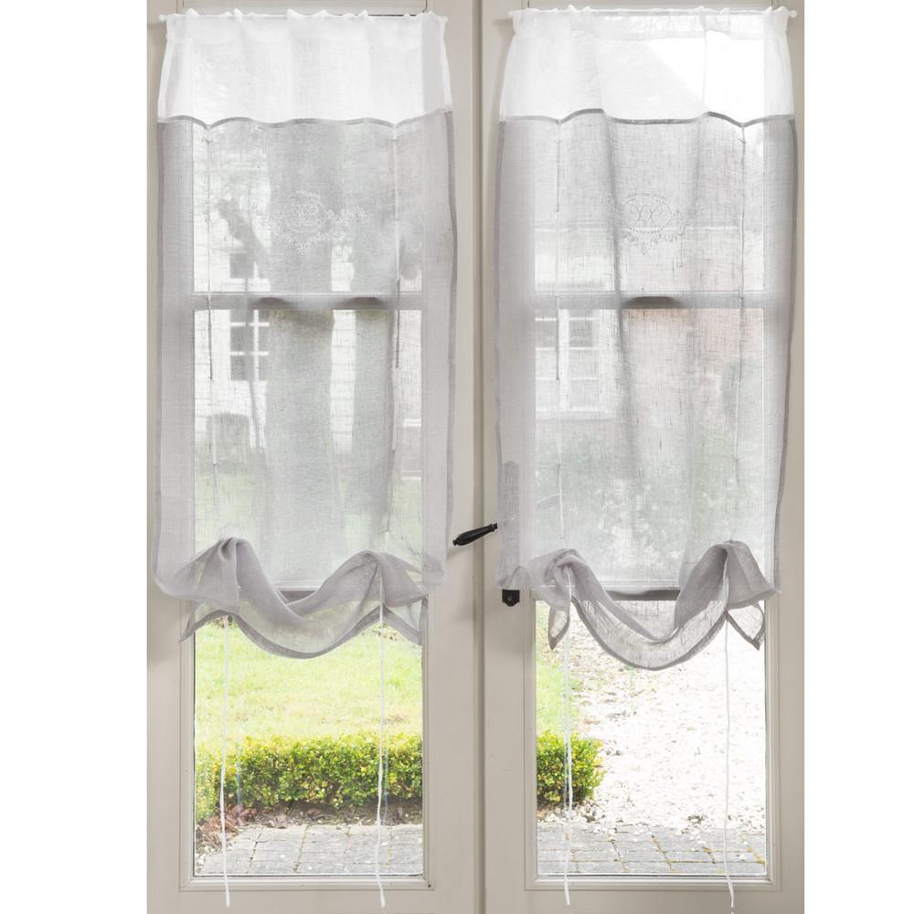rideau court avec broderie en lin gris 60 x 120 cm. Black Bedroom Furniture Sets. Home Design Ideas