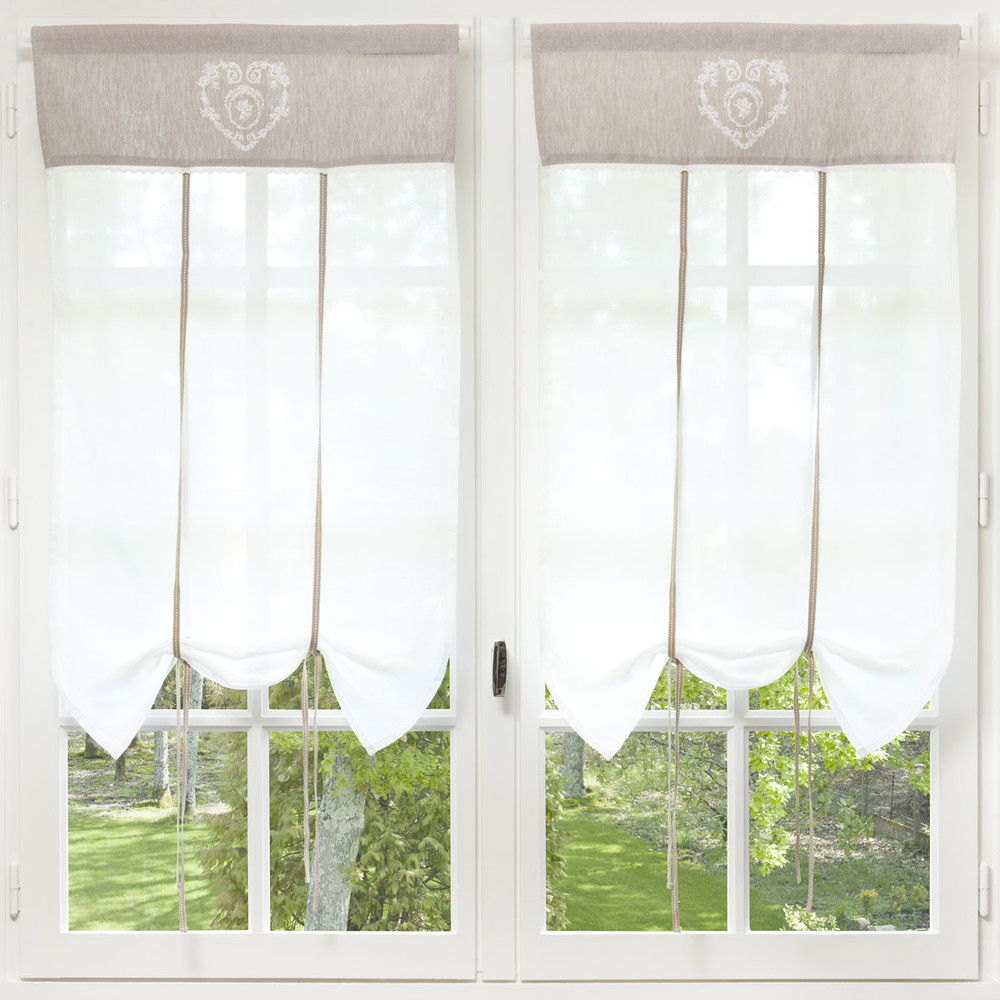 rideau court en coton cru 60 x 110 cm camille maisons du monde. Black Bedroom Furniture Sets. Home Design Ideas
