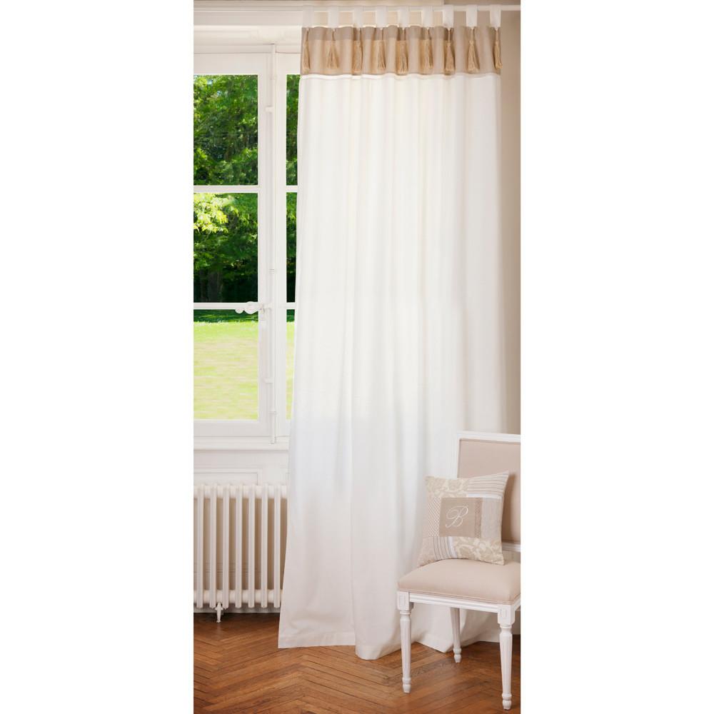 rideau double passants en coton blanc et beige 150 x 250 cm napoli maisons du monde. Black Bedroom Furniture Sets. Home Design Ideas