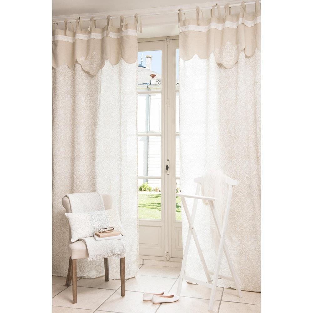 rideau en coton et lin beige 100 x 250 cm astro maisons. Black Bedroom Furniture Sets. Home Design Ideas