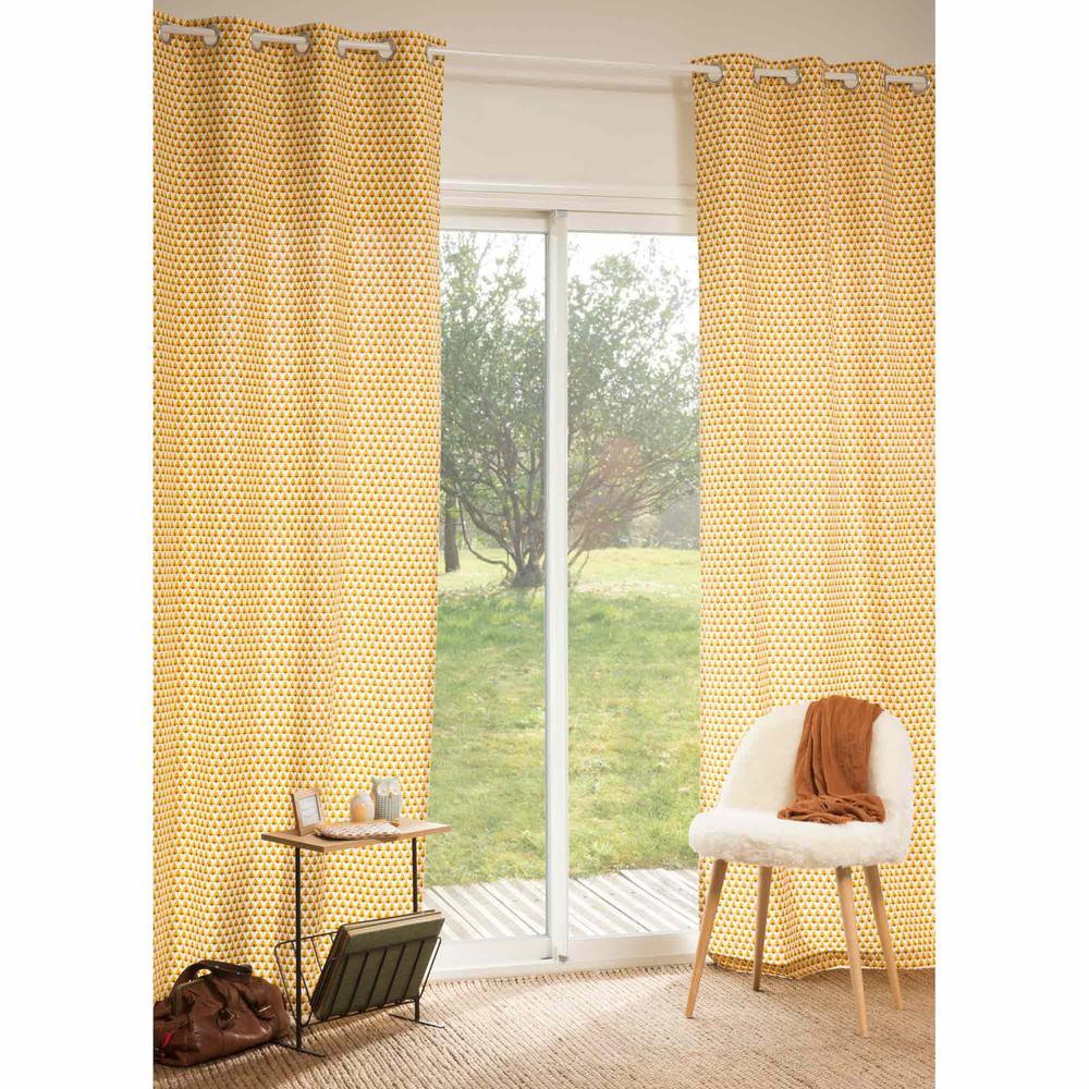 Rideau en coton jaune 110 x 250 cm HILTON | Maisons du Monde