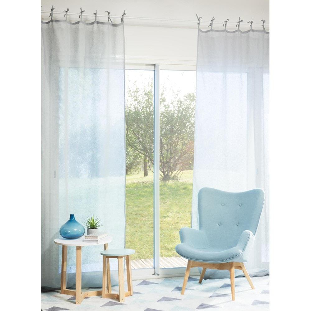 Rideau en lin bleu nuage 105 x 300 cm maisons du monde - Rideaux 300 cm ...
