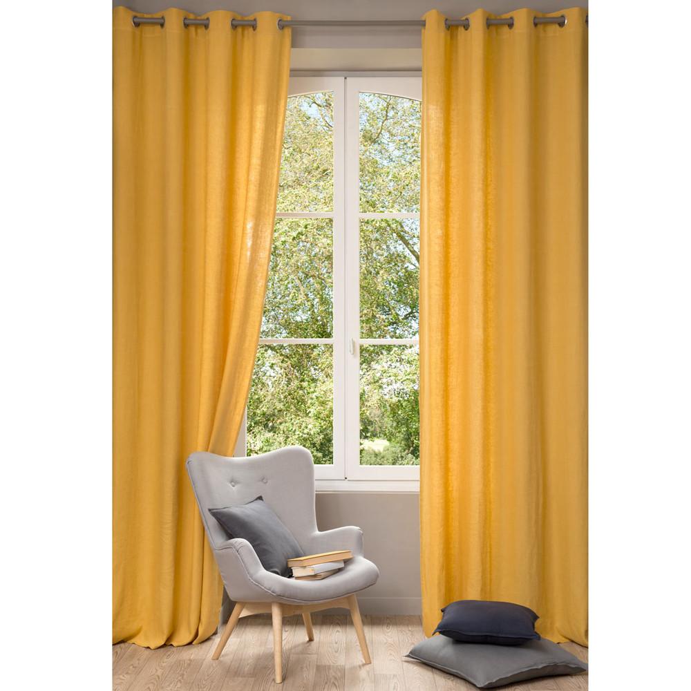 rideau en lin lav jaune 130 x 300 cm maisons du monde. Black Bedroom Furniture Sets. Home Design Ideas