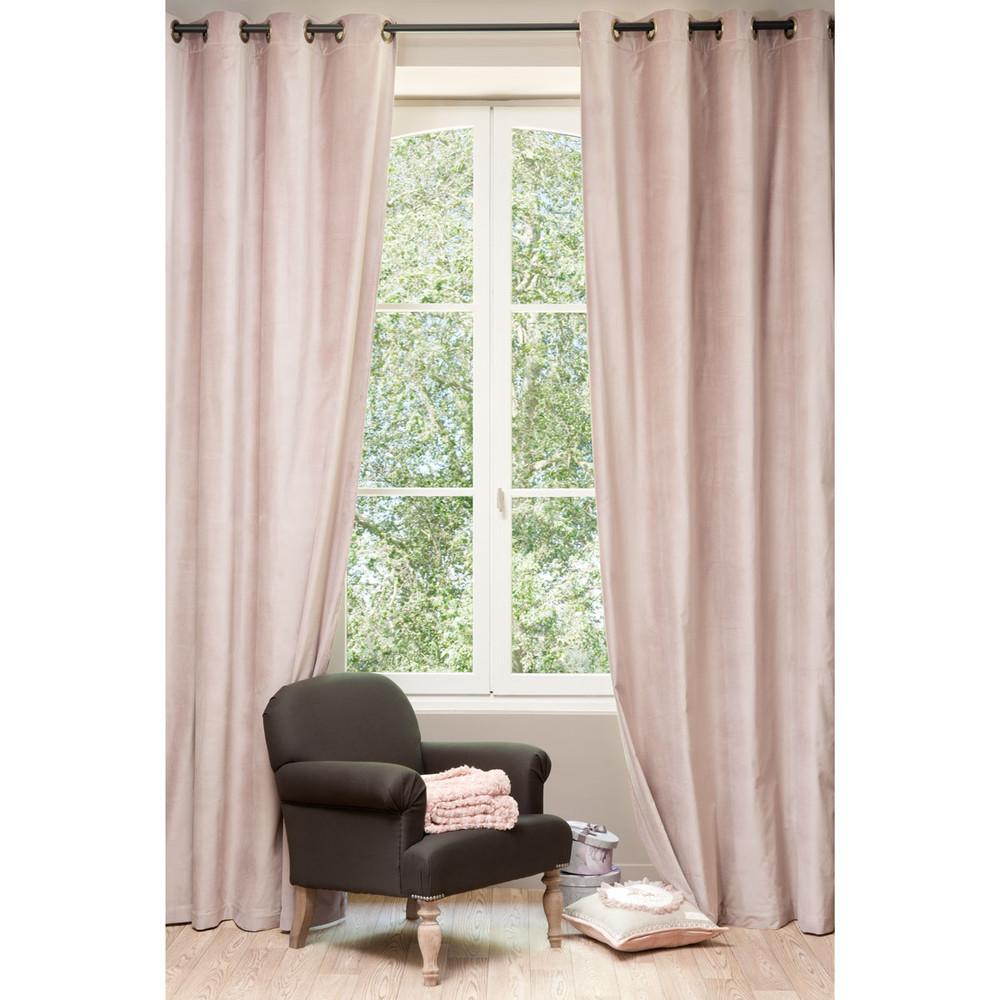 Rideau en velours vieux rose 140 x 300 cm maisons du monde - Rideaux 300 cm ...