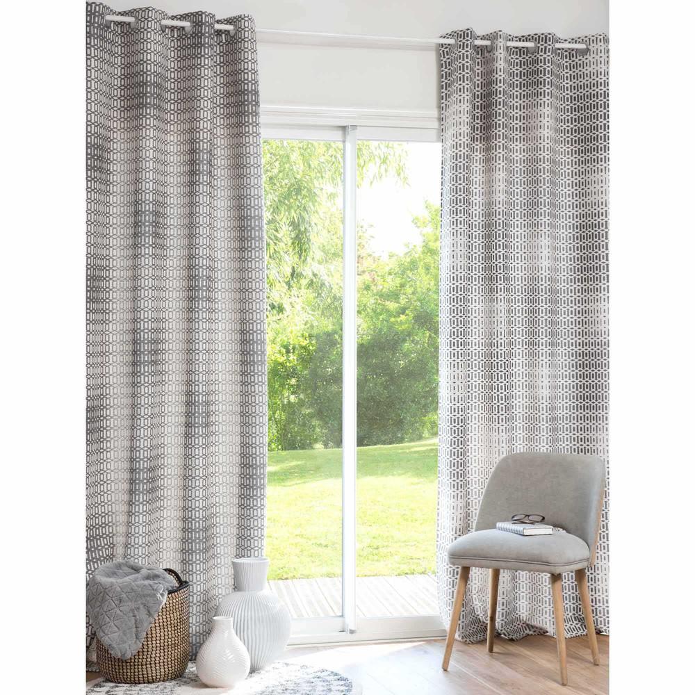 rideau gris blanc illets 130x250 cm vesco maisons du. Black Bedroom Furniture Sets. Home Design Ideas