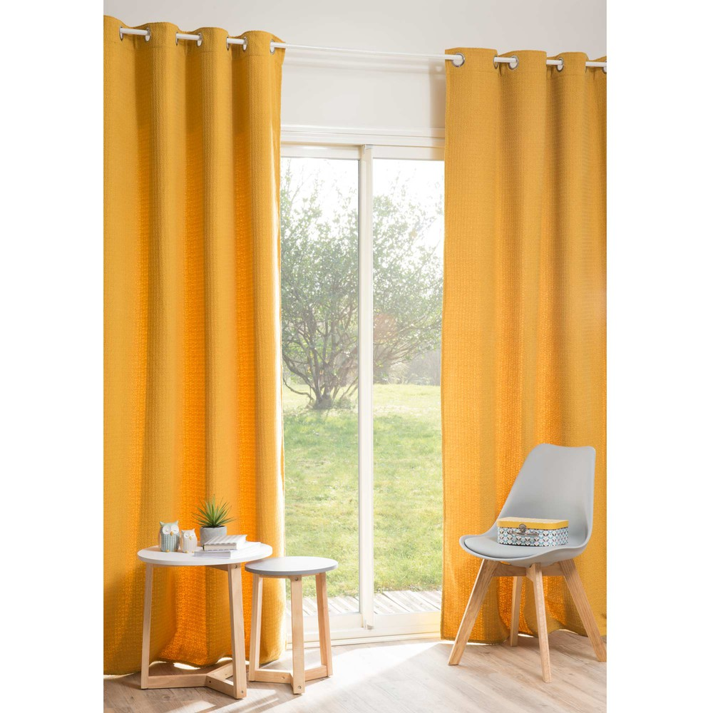 Rideau jaune moutarde 140 x 250 cm yep maisons du monde for Maison du monde rideaux