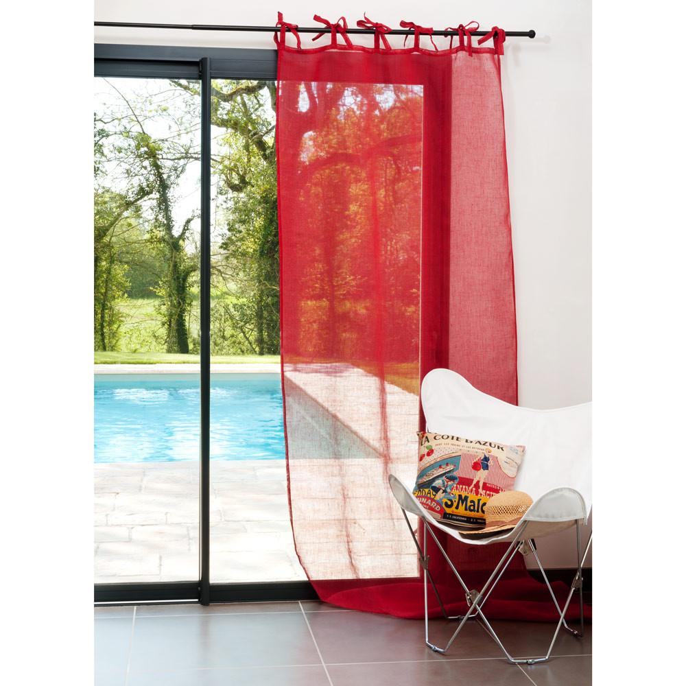 rideau lin rouge nouettes maisons du monde. Black Bedroom Furniture Sets. Home Design Ideas