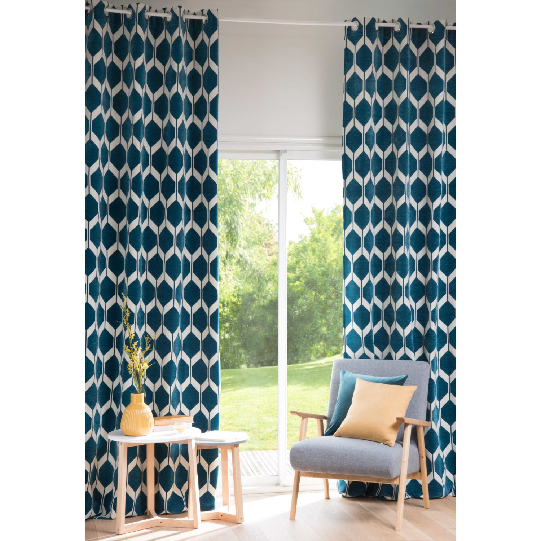 Rideau motifs bleu canard 140x300 Aston | Maisons du Monde