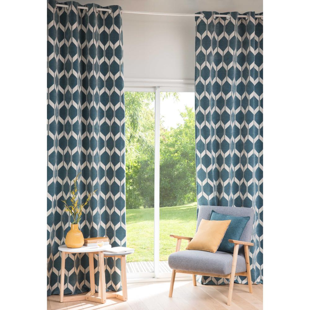 Rideau motifs bleu p trole 140x300cm aston maisons du monde - Rideau occultant bleu canard ...