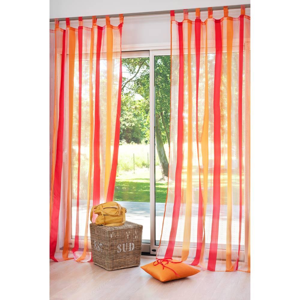 Rideau ray passants orange rouge 145 x 250 cm maisons - Embrasse rideau maison du monde ...