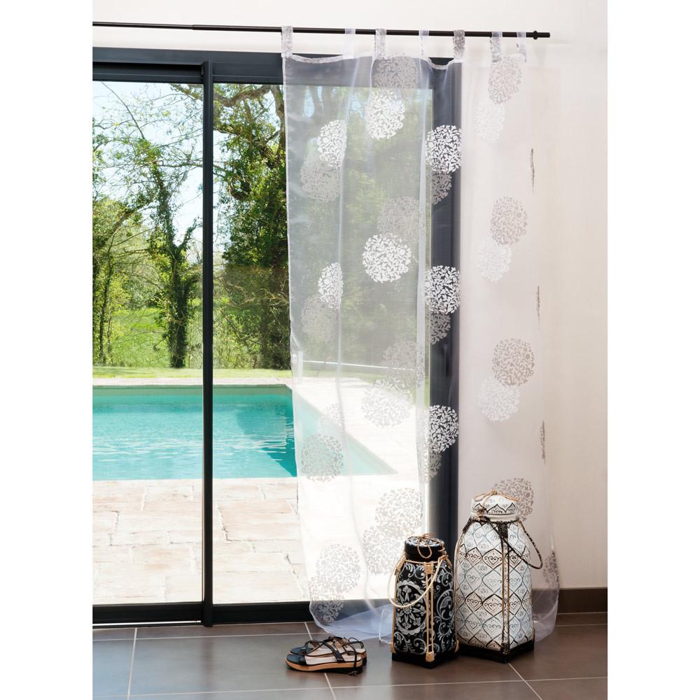 rideau rosace blanc gris vendu l 39 unit maisons du monde. Black Bedroom Furniture Sets. Home Design Ideas
