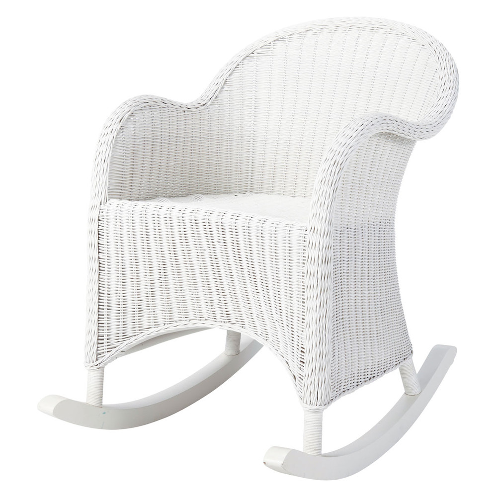 rocking chair enfant en rotin blanc oc an maisons du monde. Black Bedroom Furniture Sets. Home Design Ideas