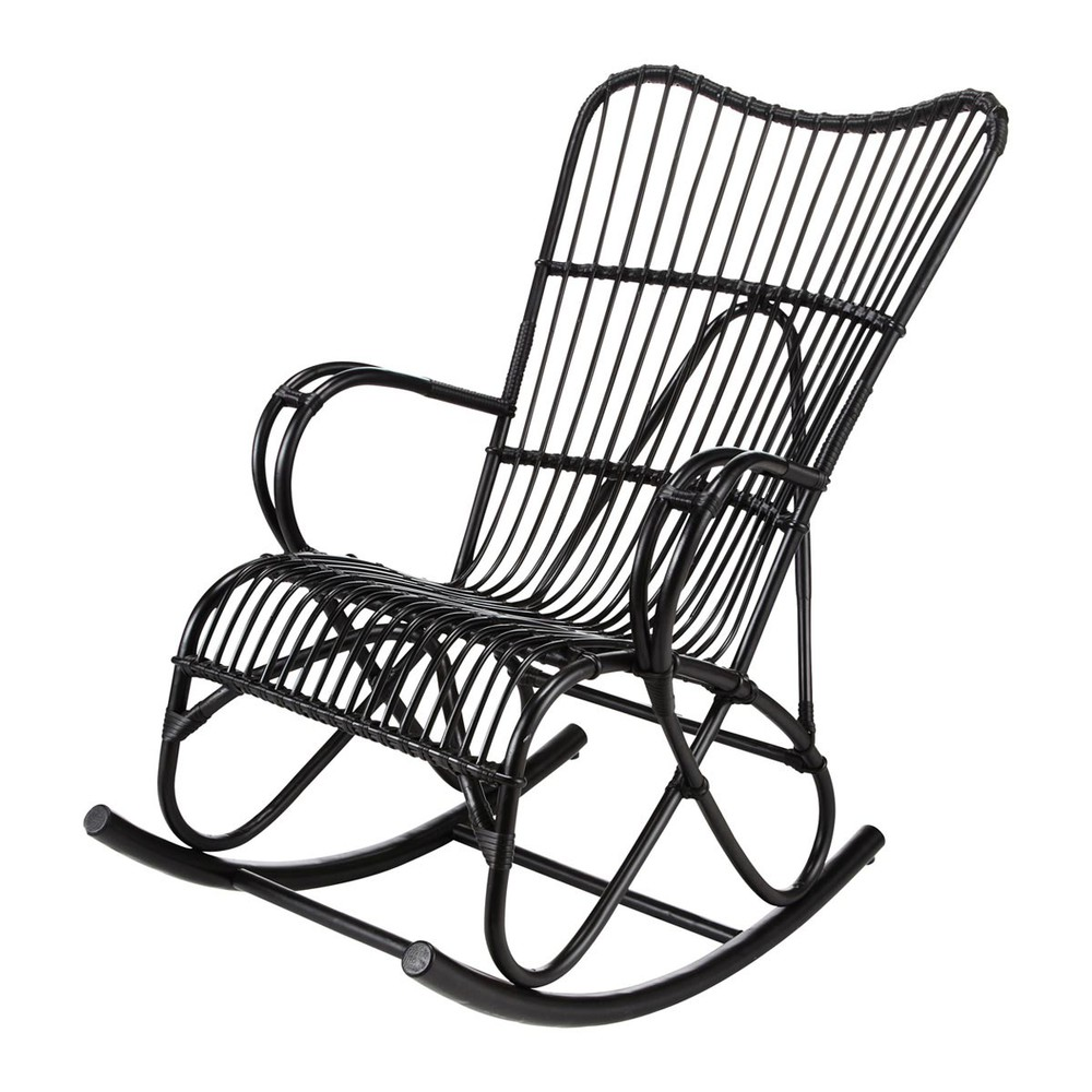 rocking chair rotin noir louisiane maisons du monde. Black Bedroom Furniture Sets. Home Design Ideas