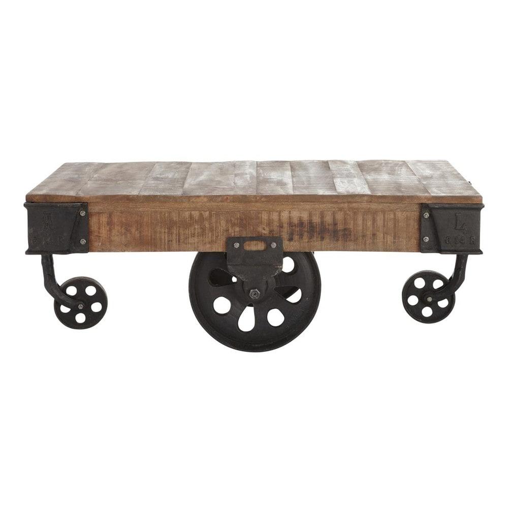 rollcouchtisch im industrial stil aus massivem mangoholz. Black Bedroom Furniture Sets. Home Design Ideas