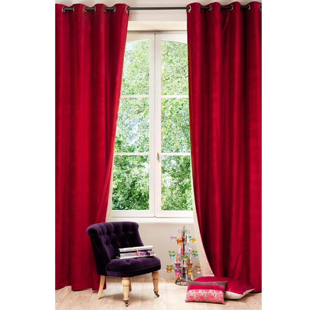 rood en beige fluwelen en linnen dubbelzijdig gordijn met ringen 140x300 maisons du monde