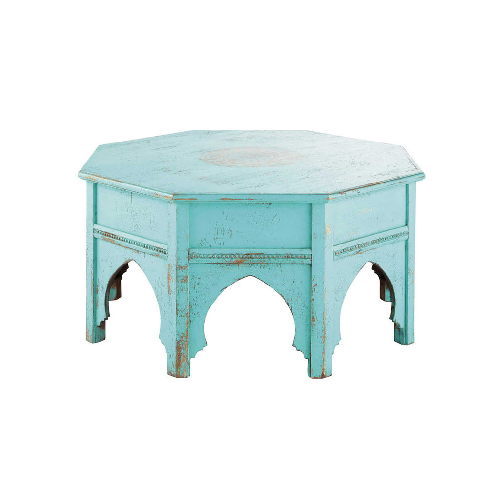 round blue coffee table salvador salvador maisons du monde. Black Bedroom Furniture Sets. Home Design Ideas