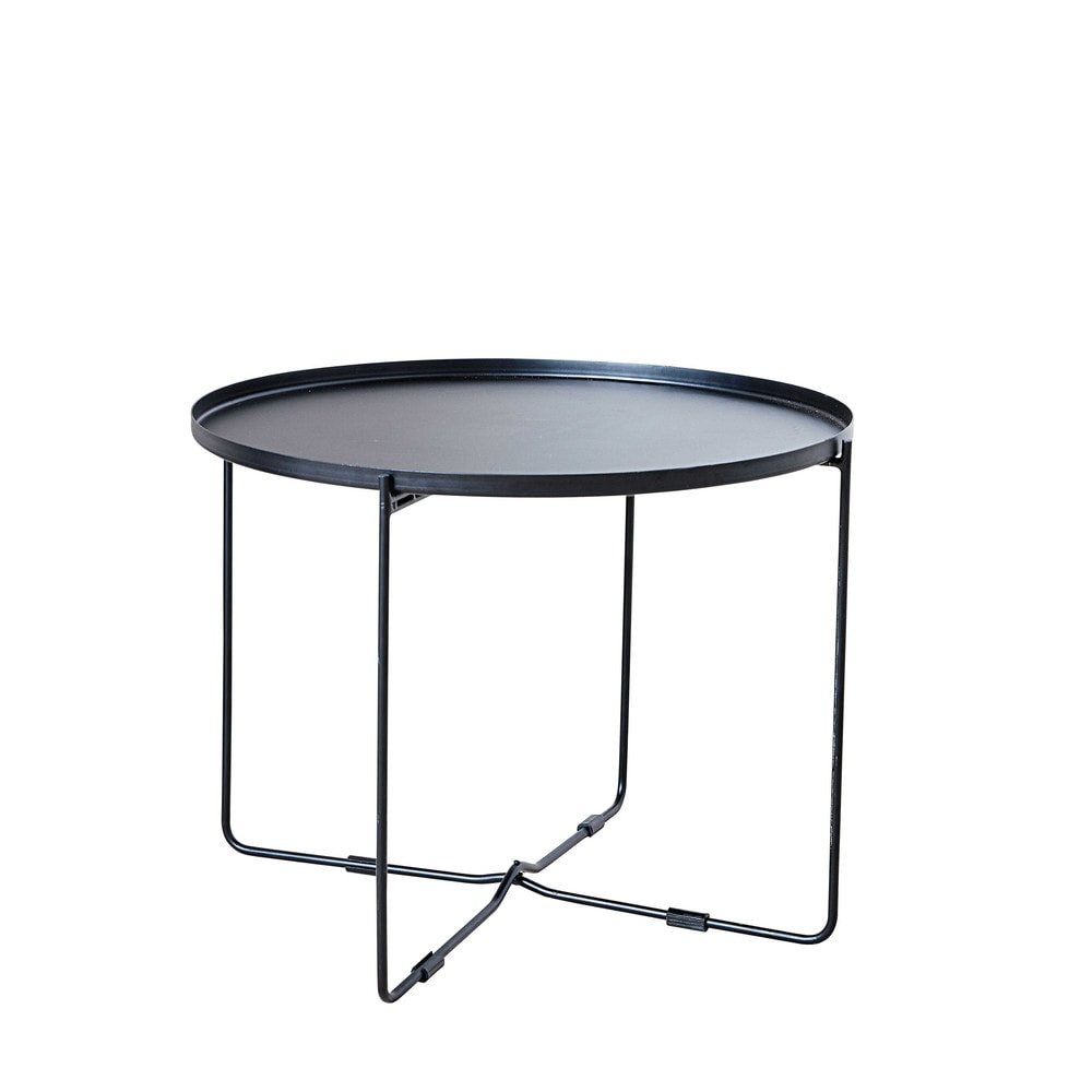 Black metal side table - Round Matte Black Metal Side Table Joe