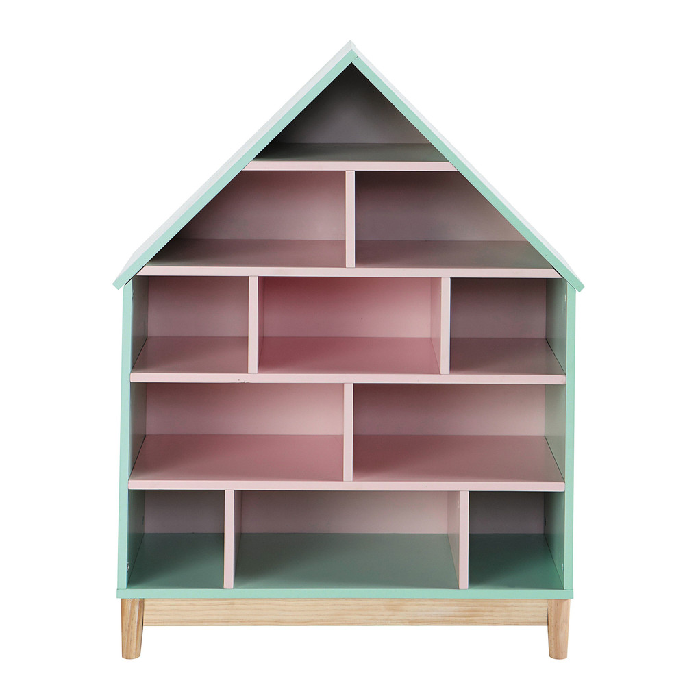roze houten kinderboekenkast huis b 75 cm berlingot maisons du monde