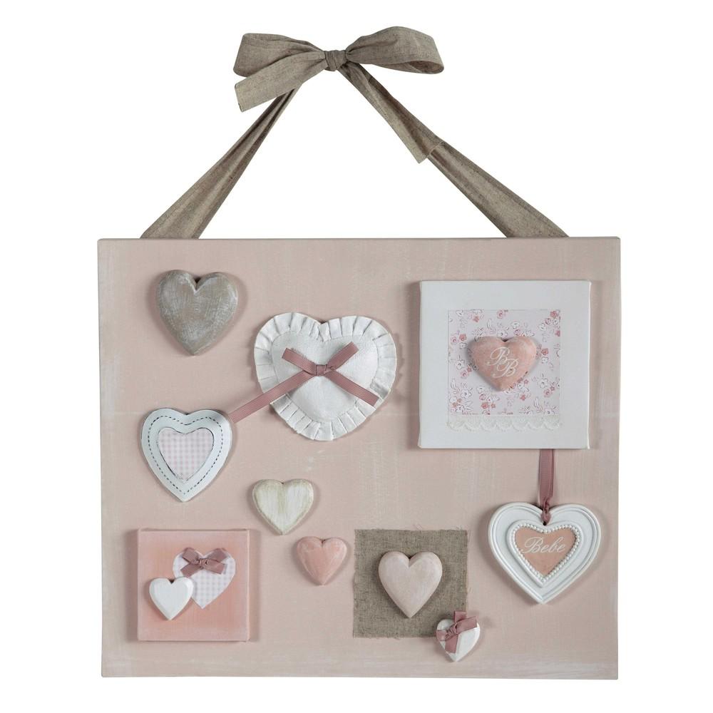 Roze victorine doek met harten 47 x 53 cm maisons du monde - Hang een doek ...