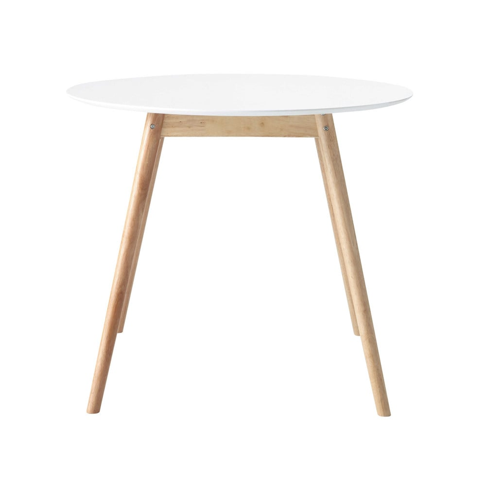 Rubber Tree Wood Round Dining Table In White D 90cm Spring