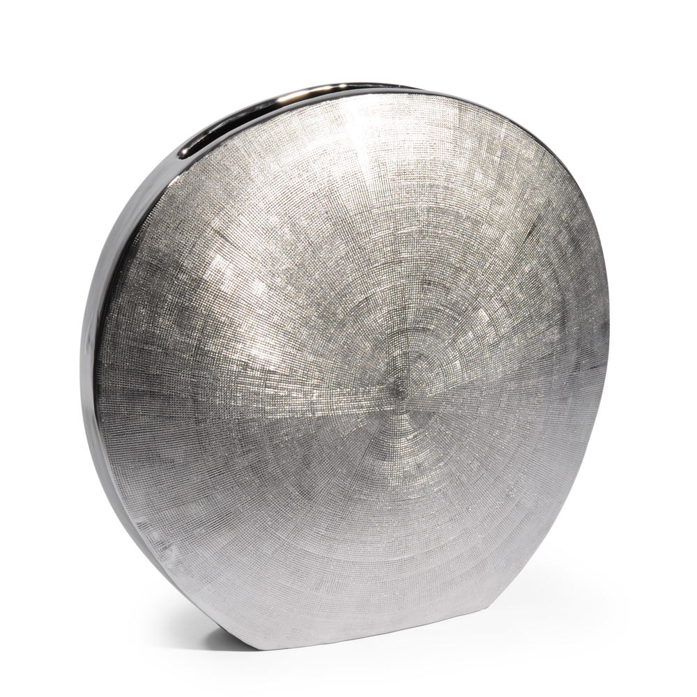 runde flache vase silver aus dolomit h 30 cm maisons du monde. Black Bedroom Furniture Sets. Home Design Ideas